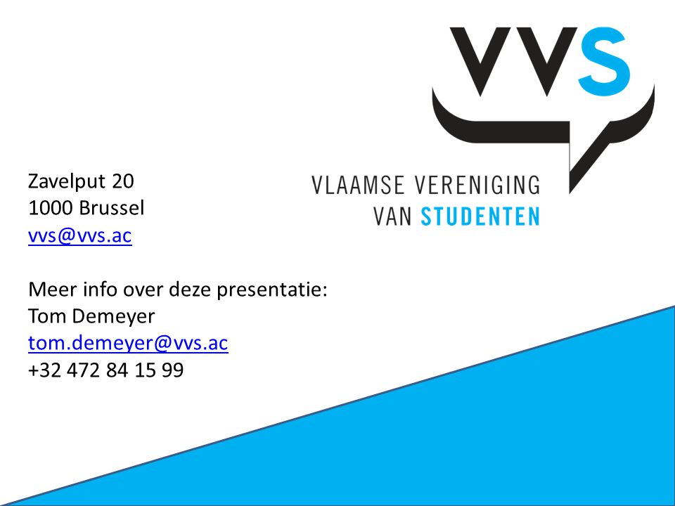 Zavelput 20 1000 Brussel vvs@vvs.ac Meer info over deze presentatie: Tom Demeyer tom.demeyer@vvs.ac +32 472 84 15 99