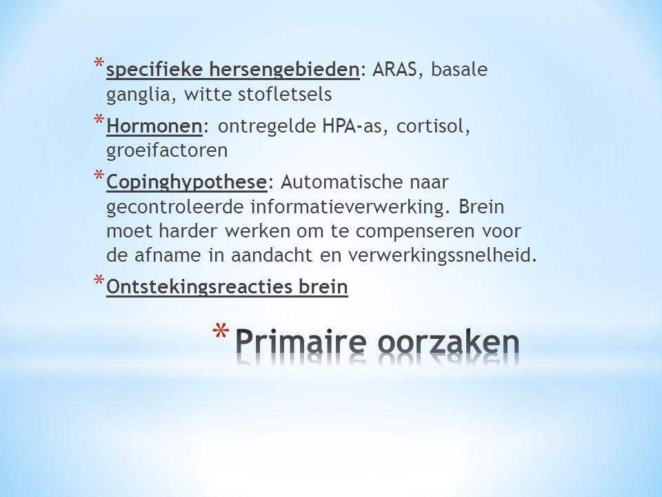* specifieke hersengebieden: ARAS, basale ganglia, witte stofletsels * Hormonen: ontregelde HPA-as, cortisol, groeifactoren * Copinghypothese: Automat