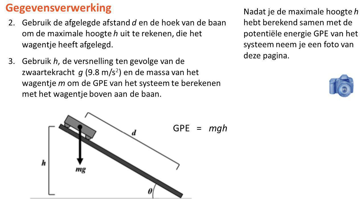2.Gebruik de afgelegde afstand d en de hoek van de baan om de maximale hoogte h uit te rekenen, die het wagentje heeft afgelegd. 3.Gebruik h, de versn