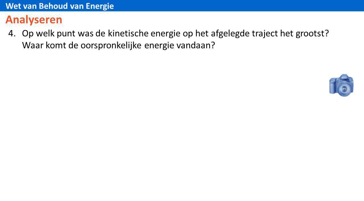 Wet van Behoud van Energie Analyseren 4.Op welk punt was de kinetische energie op het afgelegde traject het grootst? Waar komt de oorspronkelijke ener
