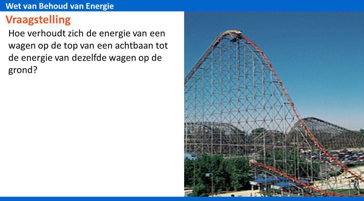 Wet van Behoud van Energie Vraagstelling Hoe verhoudt zich de energie van een wagen op de top van een achtbaan tot de energie van dezelfde wagen op de
