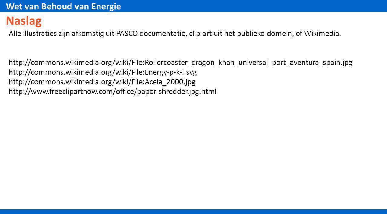 Wet van Behoud van Energie Naslag Alle illustraties zijn afkomstig uit PASCO documentatie, clip art uit het publieke domein, of Wikimedia. http://comm