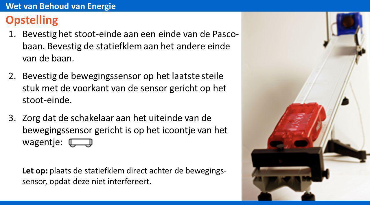 Wet van Behoud van Energie Opstelling 1.Bevestig het stoot-einde aan een einde van de Pasco- baan. Bevestig de statiefklem aan het andere einde van de
