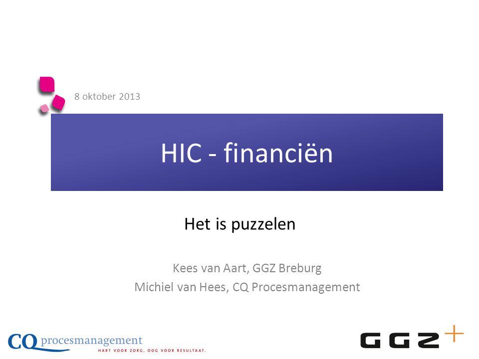 HIC - financiën 8 oktober 2013 Kees van Aart, GGZ Breburg Michiel van Hees, CQ Procesmanagement Het is puzzelen