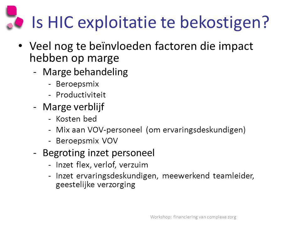 Is HIC exploitatie te bekostigen.