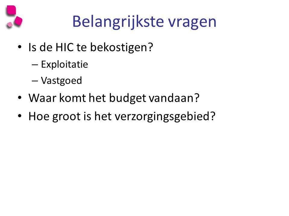 Belangrijkste vragen Is de HIC te bekostigen.