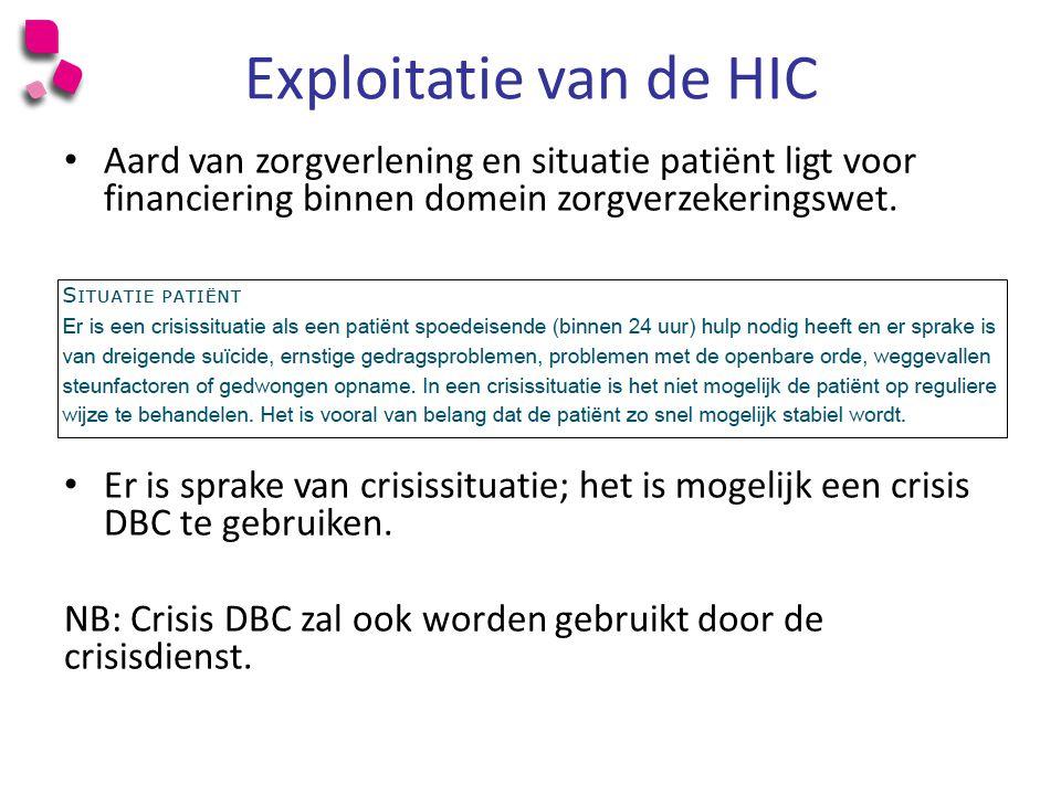 Exploitatie van de HIC Aard van zorgverlening en situatie patiënt ligt voor financiering binnen domein zorgverzekeringswet.