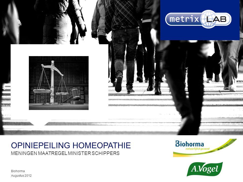 OPINIEPEILING HOMEOPATHIE MENINGEN MAATREGEL MINISTER SCHIPPERS Biohorma Augustus 2012