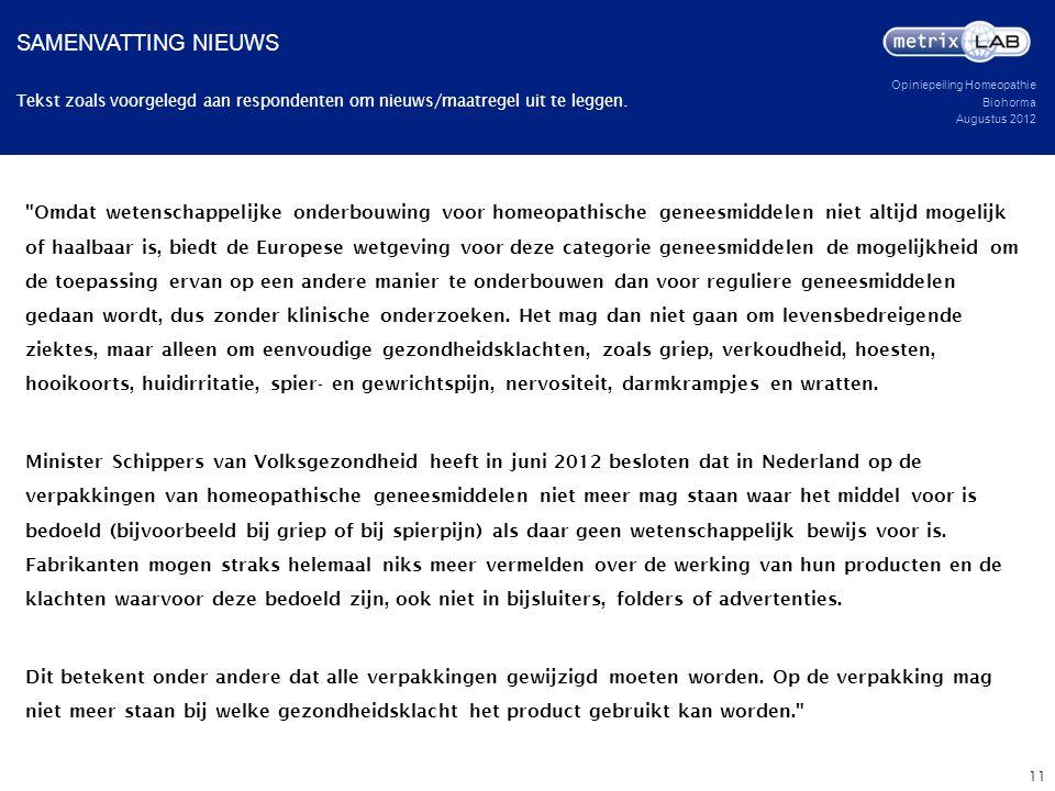 Opiniepeiling Homeopathie Biohorma Augustus 2012 Tekst zoals voorgelegd aan respondenten om nieuws/maatregel uit te leggen. SAMENVATTING NIEUWS 11