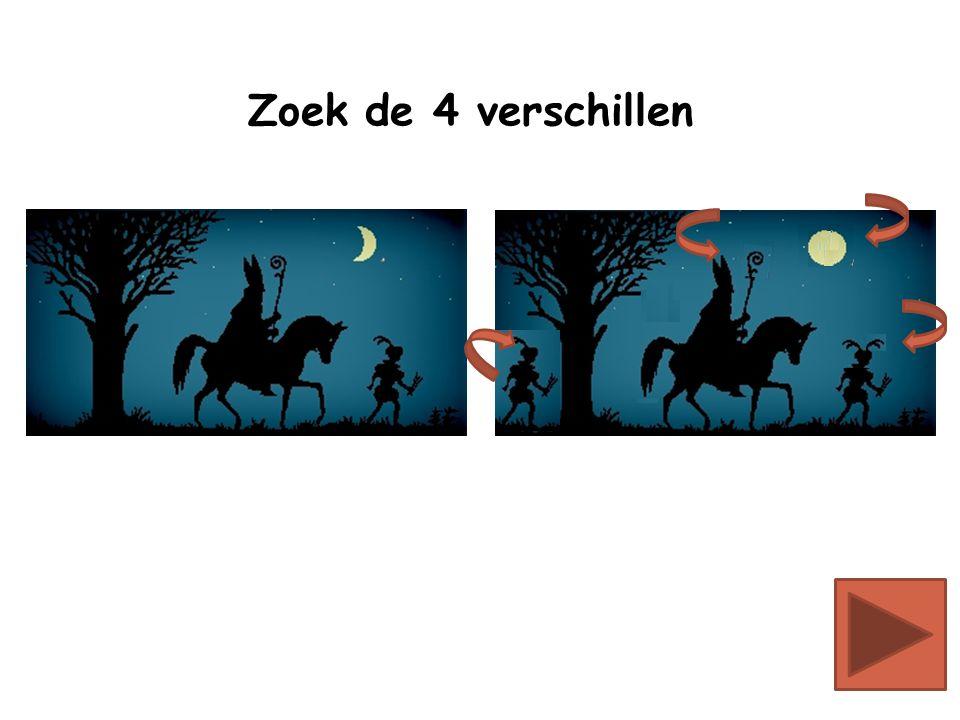 Sinterklaas zit op zijn paard en strooit pepernoten in de schoorsteen Klik op het goede plaatje: