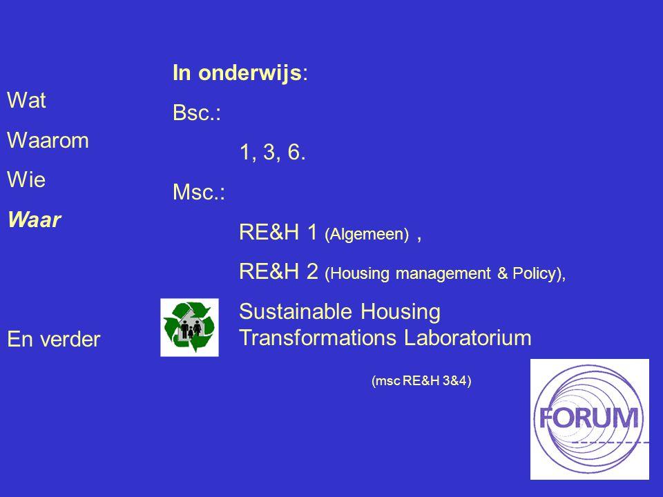 Wat Waarom Wie Waar En verder In onderwijs: Bsc.: 1, 3, 6. Msc.: RE&H 1 (Algemeen), RE&H 2 (Housing management & Policy), Sustainable Housing Transfor