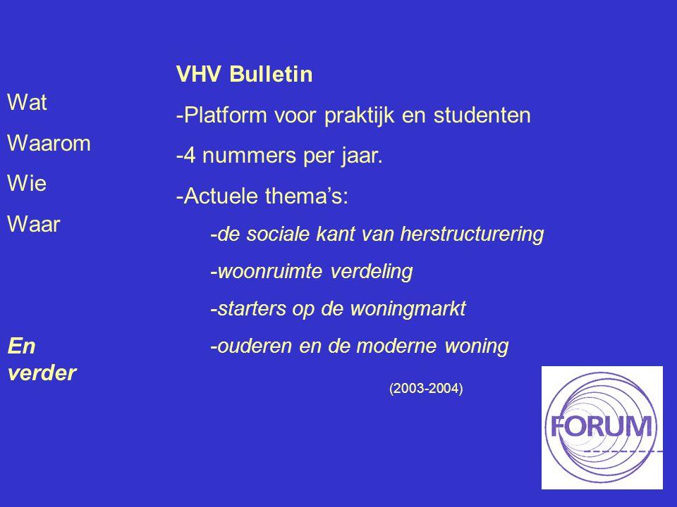 Wat Waarom Wie Waar En verder VHV Bulletin -Platform voor praktijk en studenten -4 nummers per jaar. -Actuele thema's: -de sociale kant van herstructu