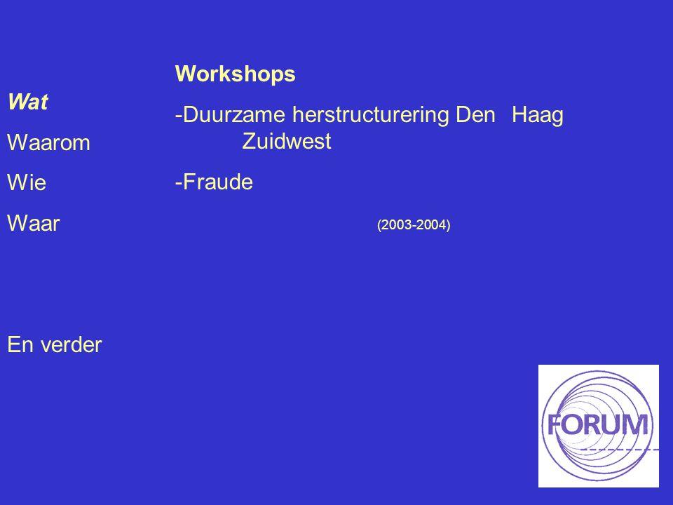 Wat Waarom Wie Waar En verder Workshops -Duurzame herstructurering Den Haag Zuidwest -Fraude (2003-2004)