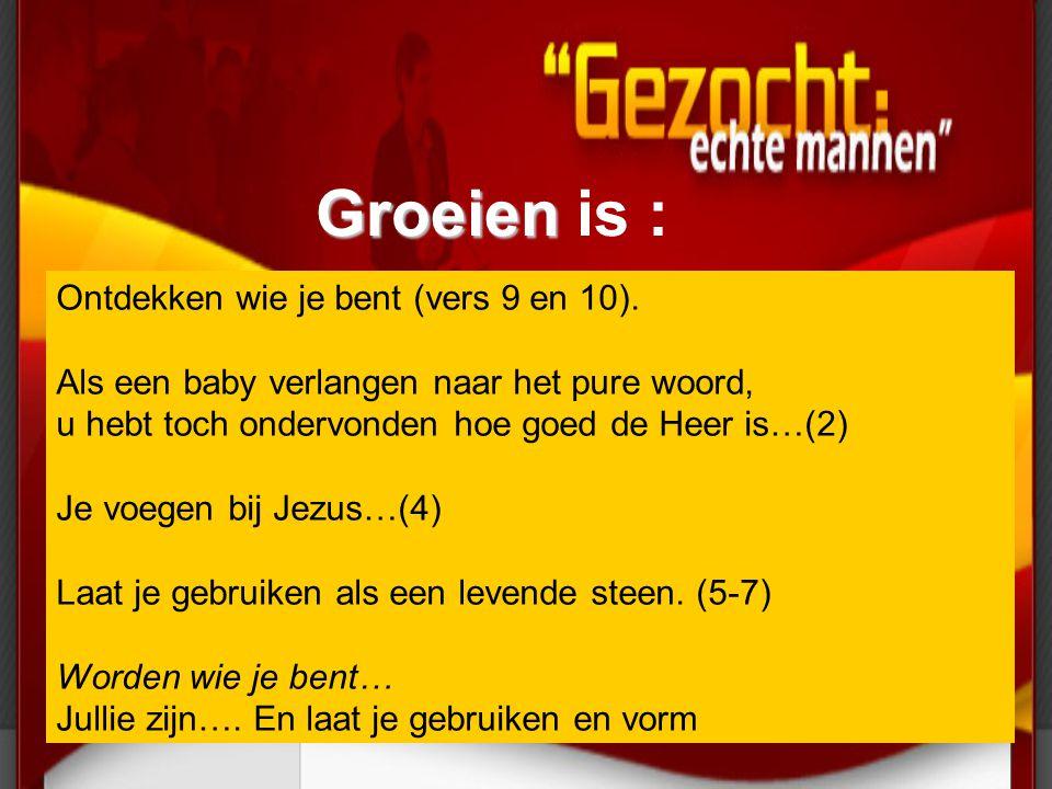 Groeien Groeien is : Ontdekken wie je bent (vers 9 en 10). Als een baby verlangen naar het pure woord, u hebt toch ondervonden hoe goed de Heer is…(2)