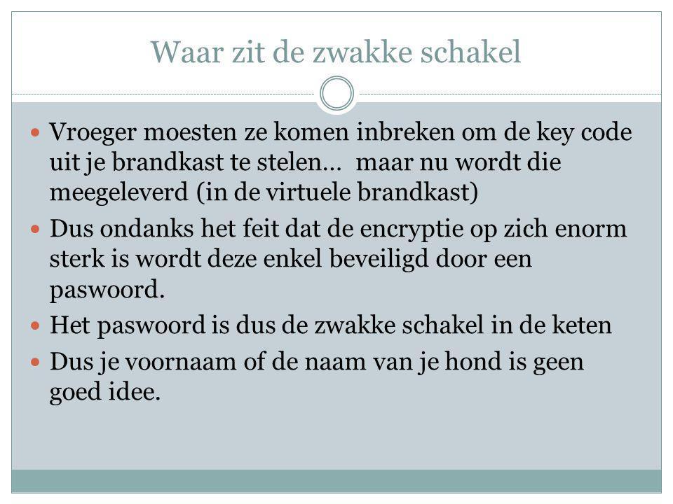 Waar zit de zwakke schakel Vroeger moesten ze komen inbreken om de key code uit je brandkast te stelen… maar nu wordt die meegeleverd (in de virtuele brandkast) Dus ondanks het feit dat de encryptie op zich enorm sterk is wordt deze enkel beveiligd door een paswoord.