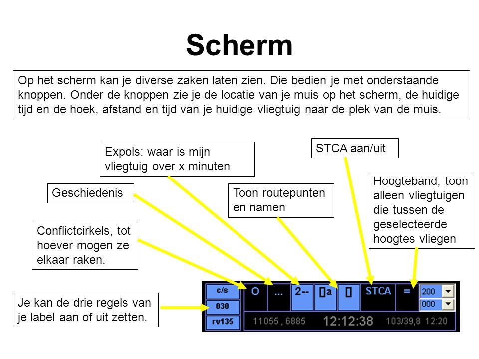 Scherm Op het scherm kan je diverse zaken laten zien. Die bedien je met onderstaande knoppen. Onder de knoppen zie je de locatie van je muis op het sc