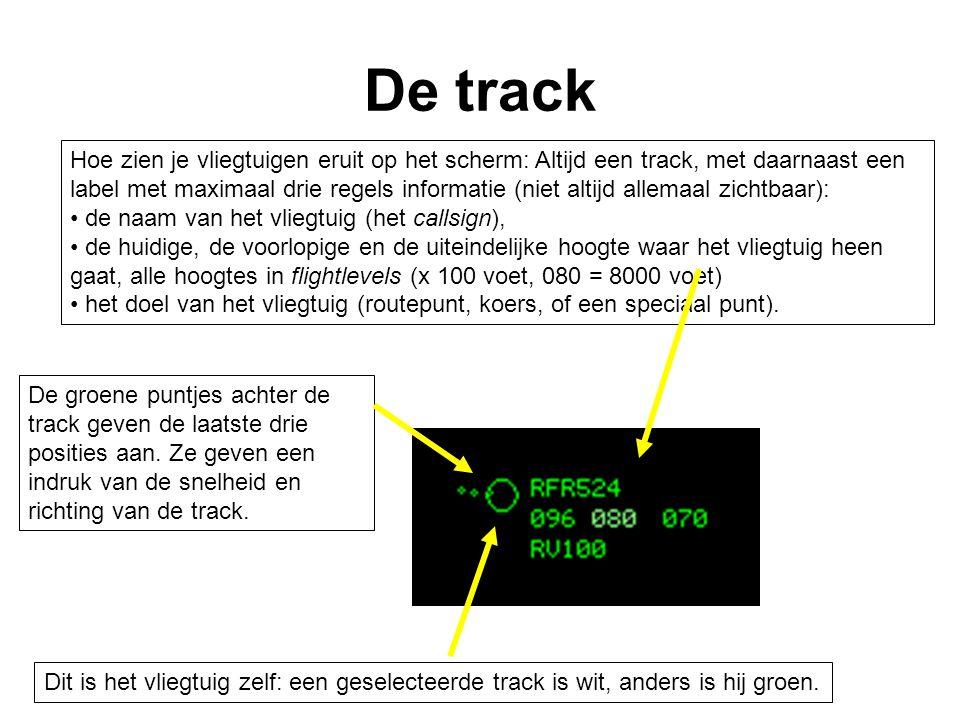 De groene lijn voor de track geeft aan waar deze over 2, 3 of 4 minuten is.