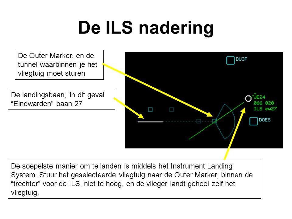 De ILS nadering De soepelste manier om te landen is middels het Instrument Landing System. Stuur het geselecteerde vliegtuig naar de Outer Marker, bin