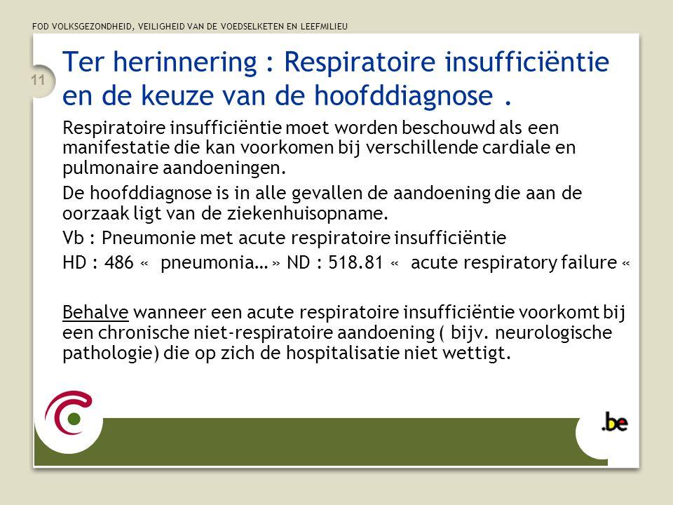 FOD VOLKSGEZONDHEID, VEILIGHEID VAN DE VOEDSELKETEN EN LEEFMILIEU 11 Ter herinnering : Respiratoire insufficiëntie en de keuze van de hoofddiagnose.