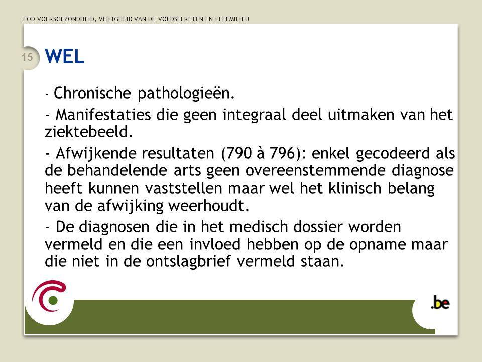 FOD VOLKSGEZONDHEID, VEILIGHEID VAN DE VOEDSELKETEN EN LEEFMILIEU 15 WEL - Chronische pathologieën.
