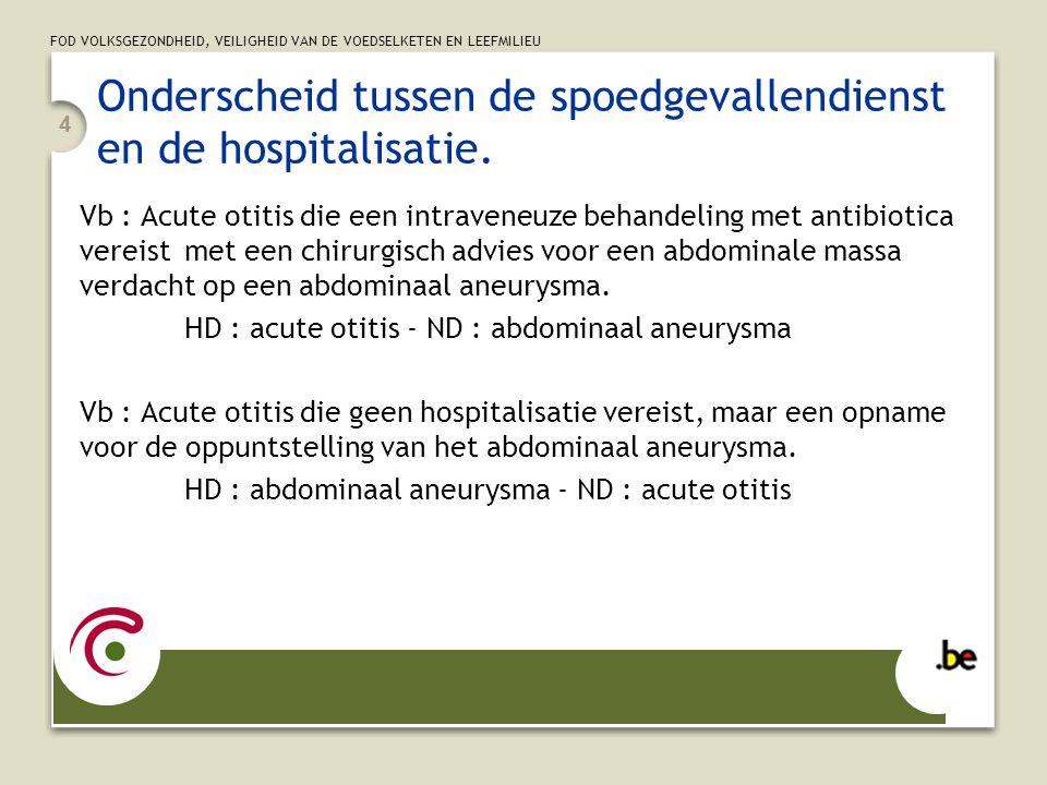 FOD VOLKSGEZONDHEID, VEILIGHEID VAN DE VOEDSELKETEN EN LEEFMILIEU 4 Onderscheid tussen de spoedgevallendienst en de hospitalisatie. Vb : Acute otitis