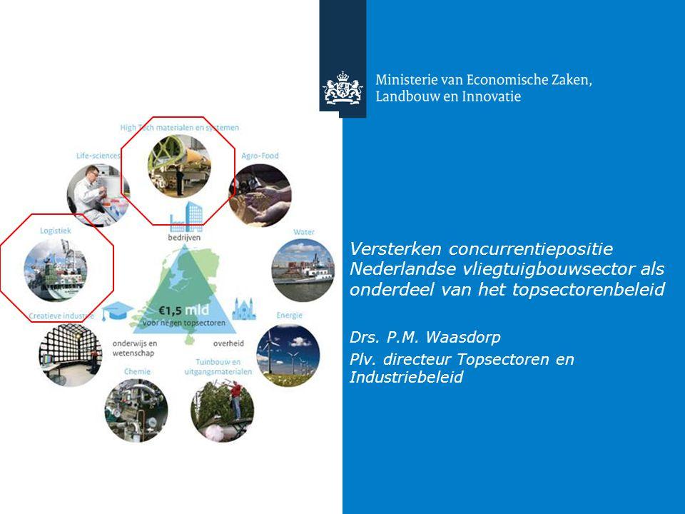 Versterken concurrentiepositie Nederlandse vliegtuigbouwsector als onderdeel van het topsectorenbeleid Drs. P.M. Waasdorp Plv. directeur Topsectoren e
