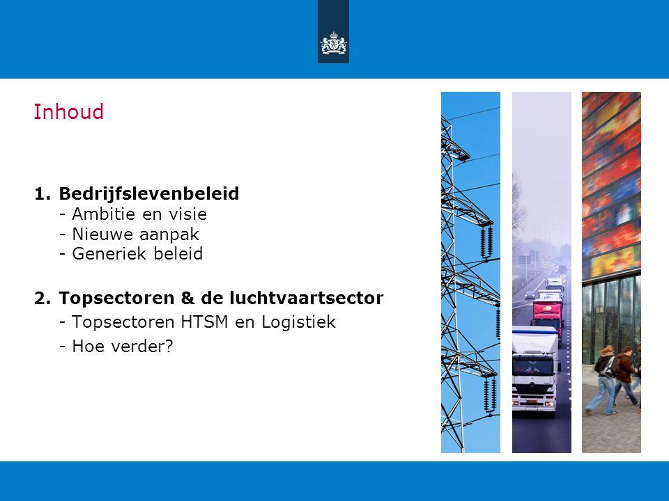 Inhoud 1.Bedrijfslevenbeleid - Ambitie en visie - Nieuwe aanpak - Generiek beleid 2.Topsectoren & de luchtvaartsector - Topsectoren HTSM en Logistiek