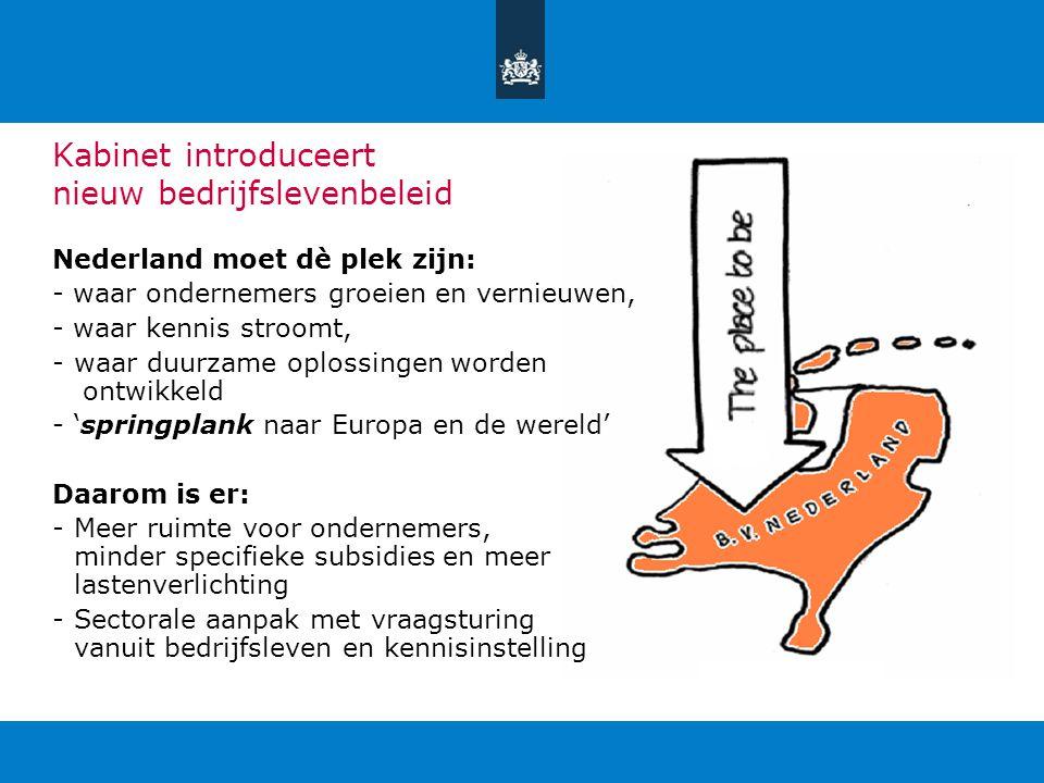 Kabinet introduceert nieuw bedrijfslevenbeleid Nederland moet dè plek zijn: - waar ondernemers groeien en vernieuwen, - waar kennis stroomt, -waar duu
