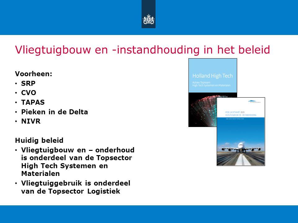 Vliegtuigbouw en -instandhouding in het beleid Voorheen: SRP CVO TAPAS Pieken in de Delta NIVR Huidig beleid Vliegtuigbouw en – onderhoud is onderdeel