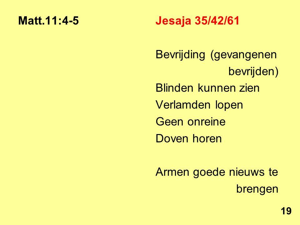 Matt.11:4-5Jesaja 35/42/61 Bevrijding (gevangenen bevrijden) Blinden kunnen zien Verlamden lopen Geen onreine Doven horen Armen goede nieuws te brengen 19