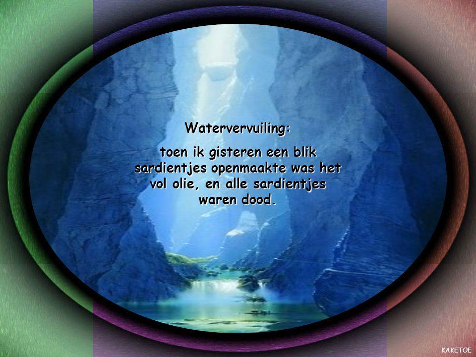 KAKETOE Watervervuiling: toen ik gisteren een blik sardientjes openmaakte was het vol olie, en alle sardientjes waren dood.