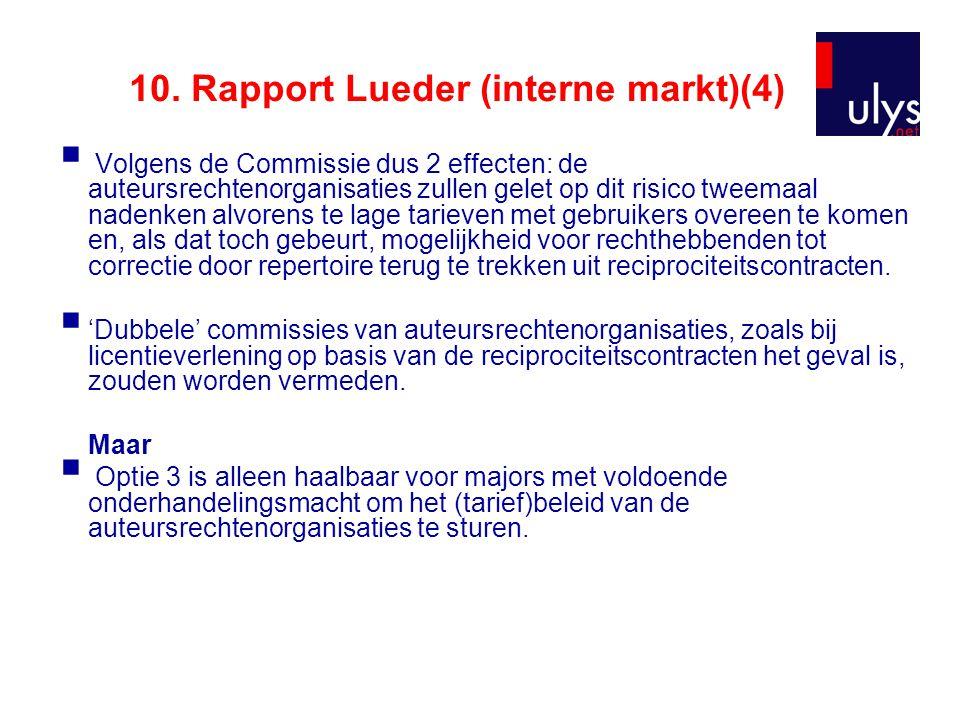 10. Rapport Lueder (interne markt)(4)  Volgens de Commissie dus 2 effecten: de auteursrechtenorganisaties zullen gelet op dit risico tweemaal nadenke