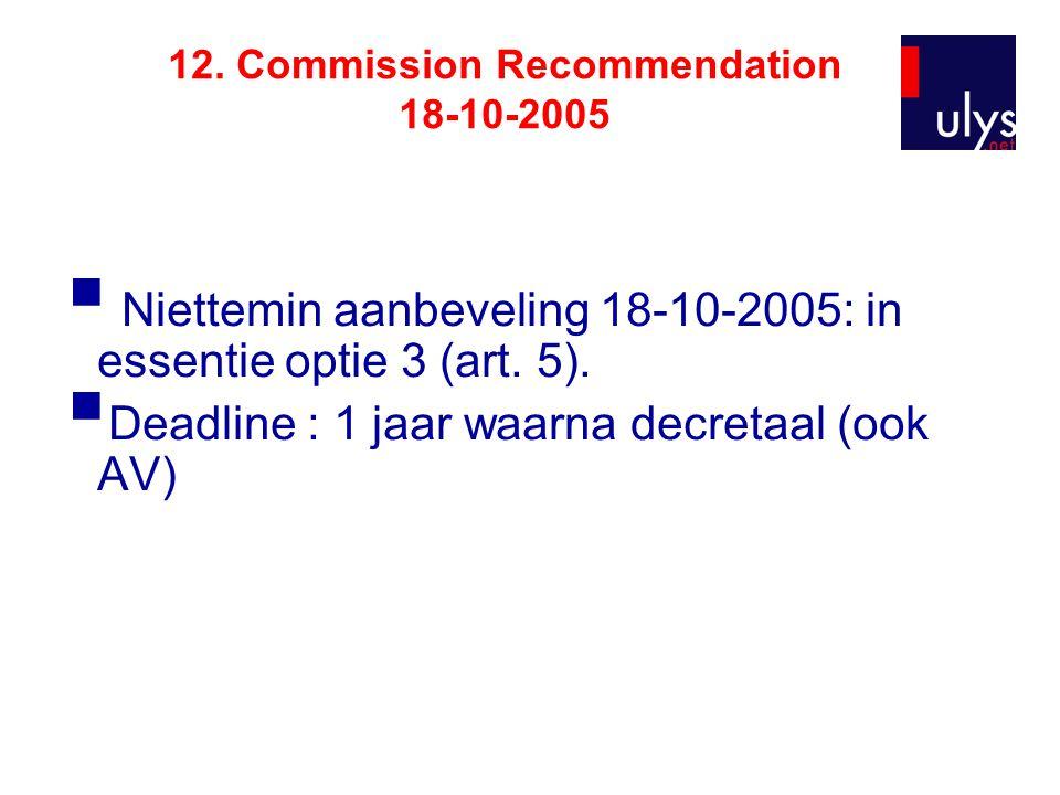 12. Commission Recommendation 18-10-2005  Niettemin aanbeveling 18-10-2005: in essentie optie 3 (art. 5).  Deadline : 1 jaar waarna decretaal (ook A