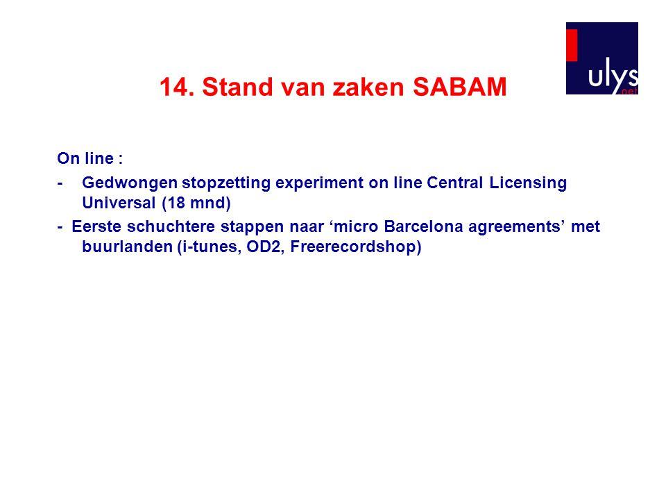 14. Stand van zaken SABAM On line : -Gedwongen stopzetting experiment on line Central Licensing Universal (18 mnd) - Eerste schuchtere stappen naar 'm