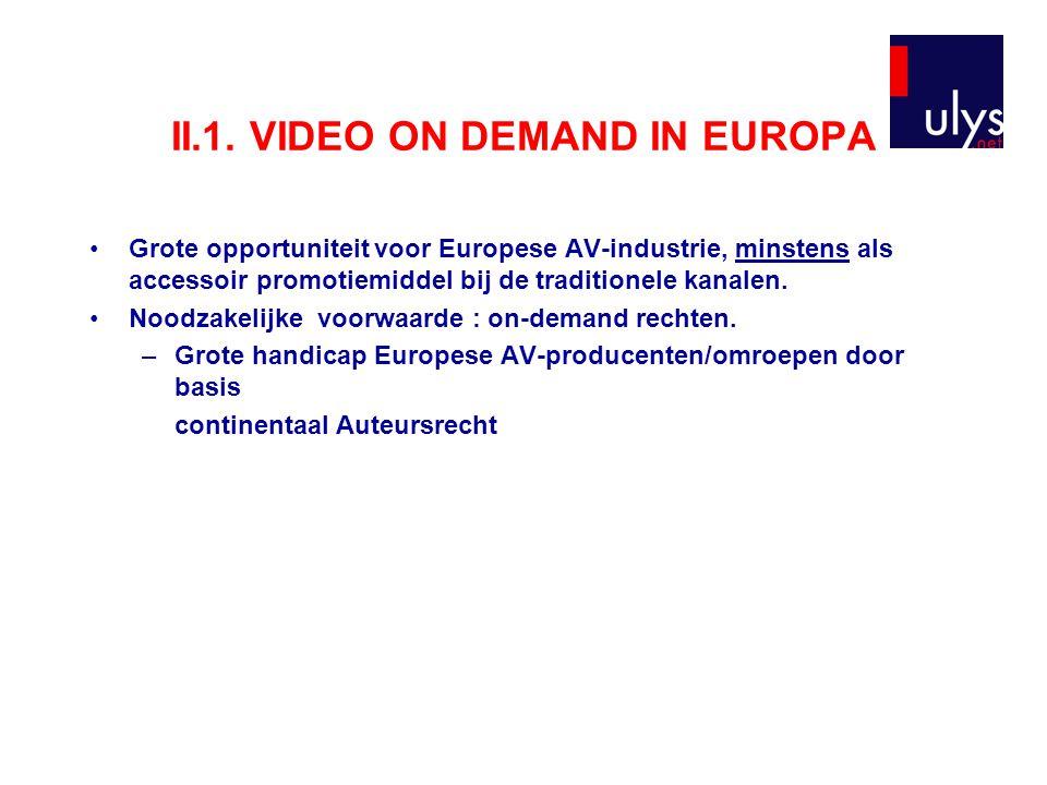 II.1. VIDEO ON DEMAND IN EUROPA Grote opportuniteit voor Europese AV-industrie, minstens als accessoir promotiemiddel bij de traditionele kanalen. Noo
