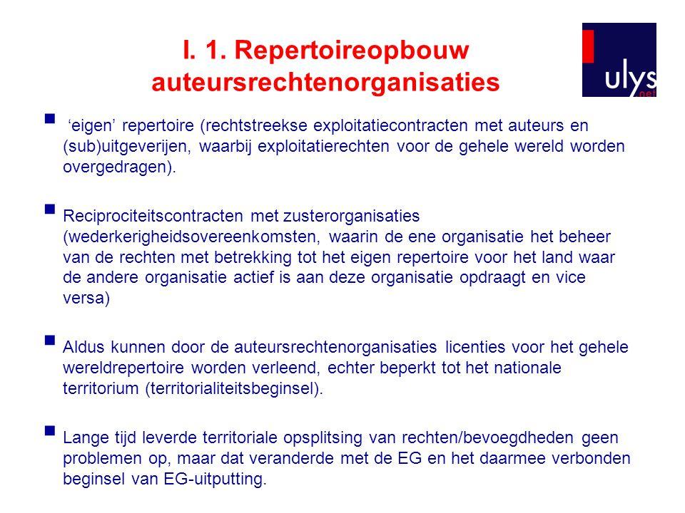 I. 1. Repertoireopbouw auteursrechtenorganisaties  'eigen' repertoire (rechtstreekse exploitatiecontracten met auteurs en (sub)uitgeverijen, waarbij