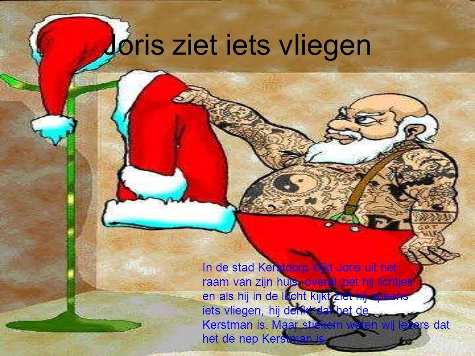 Joris ziet iets vliegen In de stad Kerstdorp kijkt Joris uit het raam van zijn huis, overal ziet hij lichtjes en als hij in de lucht kijkt ziet hij op