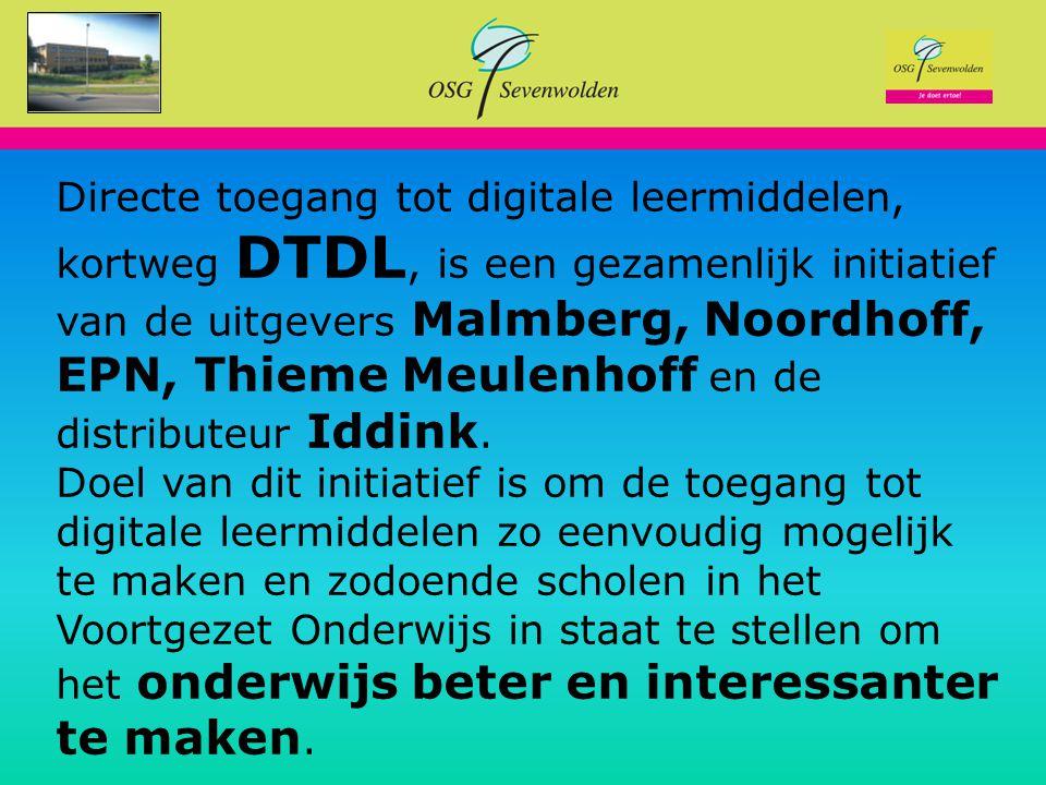 Je doet ertoe! Directe toegang tot digitale leermiddelen, kortweg DTDL, is een gezamenlijk initiatief van de uitgevers Malmberg, Noordhoff, EPN, Thiem