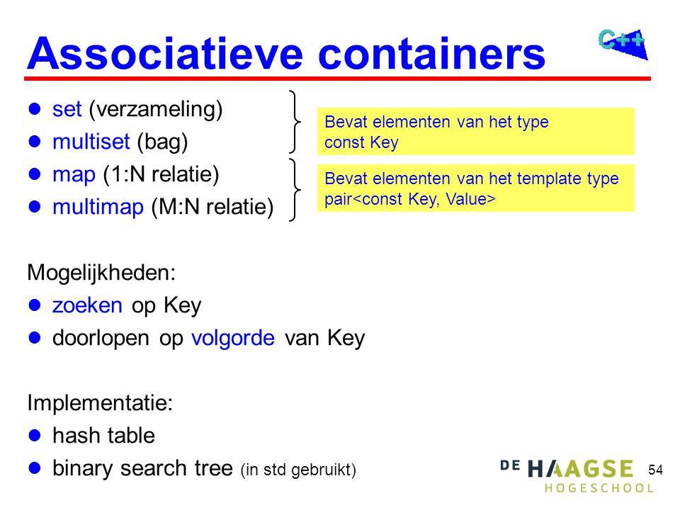 54 Associatieve containers set (verzameling) multiset (bag) map (1:N relatie) multimap (M:N relatie) Mogelijkheden: zoeken op Key doorlopen op volgorde van Key Implementatie: hash table binary search tree (in std gebruikt) Bevat elementen van het template type pair Bevat elementen van het type const Key