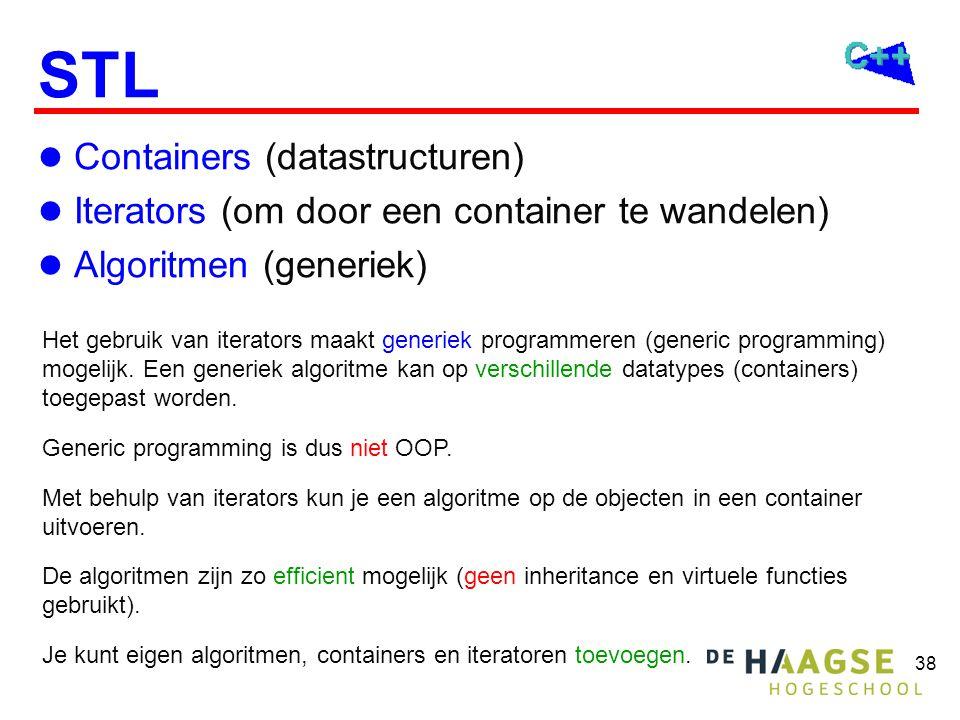 38 STL Containers (datastructuren) Iterators (om door een container te wandelen) Algoritmen (generiek) Het gebruik van iterators maakt generiek programmeren (generic programming) mogelijk.