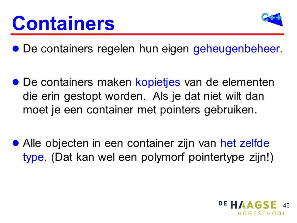 43 Containers De containers regelen hun eigen geheugenbeheer.