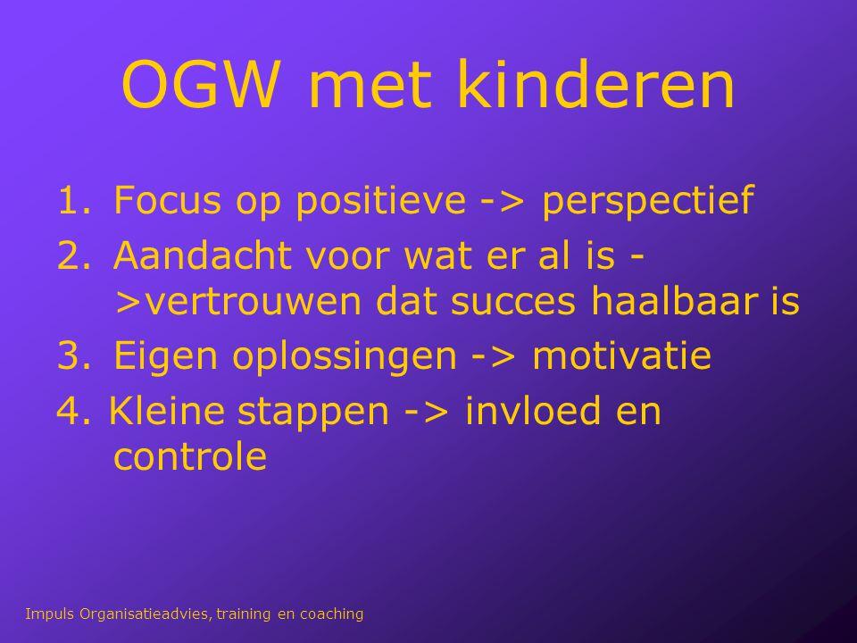 OGW met kinderen 1.Focus op positieve -> perspectief 2.Aandacht voor wat er al is - >vertrouwen dat succes haalbaar is 3.Eigen oplossingen -> motivati
