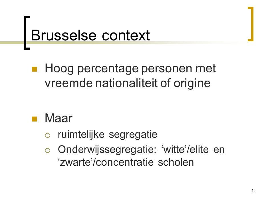 Brusselse context Hoog percentage personen met vreemde nationaliteit of origine Maar  ruimtelijke segregatie  Onderwijssegregatie: 'witte'/elite en 'zwarte'/concentratie scholen 10
