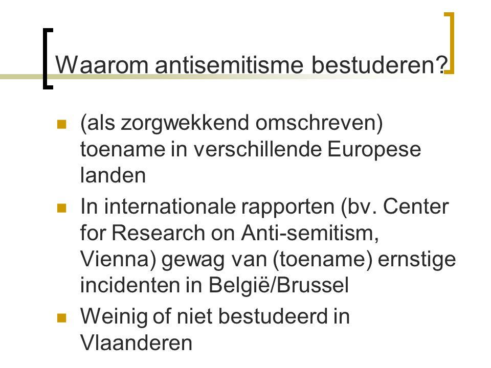 Waarom antisemitisme bestuderen? (als zorgwekkend omschreven) toename in verschillende Europese landen In internationale rapporten (bv. Center for Res
