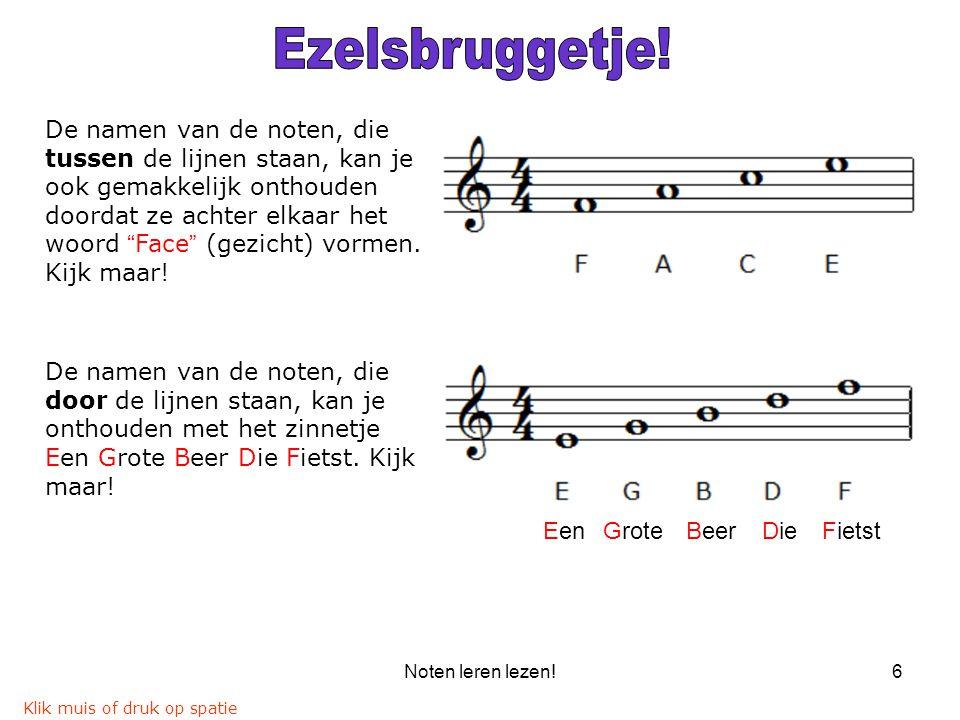 """Noten leren lezen!6 De namen van de noten, die tussen de lijnen staan, kan je ook gemakkelijk onthouden doordat ze achter elkaar het woord """"Face"""" (gez"""