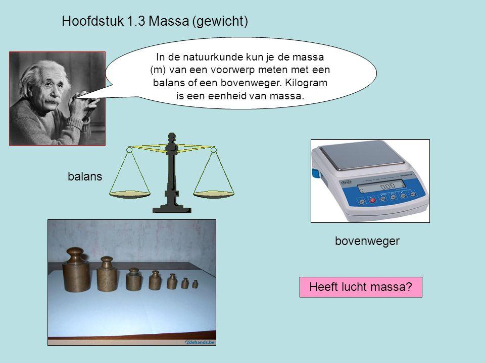 In de natuurkunde kun je de massa (m) van een voorwerp meten met een balans of een bovenweger.