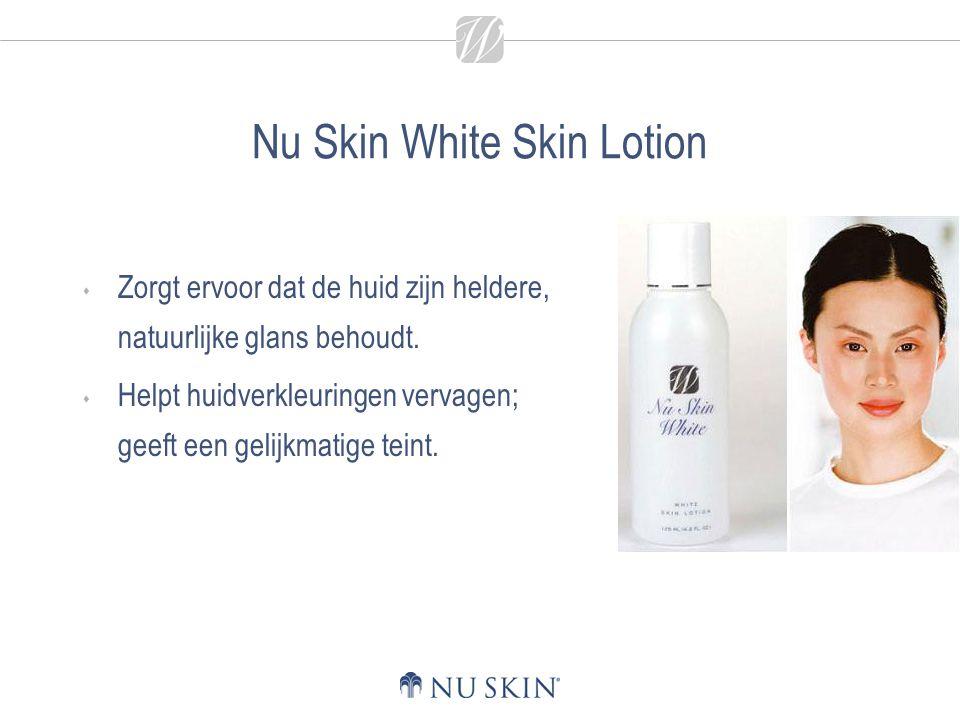 Nu Skin White Skin Lotion  Zorgt ervoor dat de huid zijn heldere, natuurlijke glans behoudt.  Helpt huidverkleuringen vervagen; geeft een gelijkmati