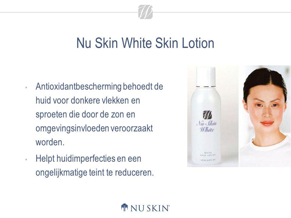 Nu Skin White Skin Lotion  Antioxidantbescherming behoedt de huid voor donkere vlekken en sproeten die door de zon en omgevingsinvloeden veroorzaakt worden.