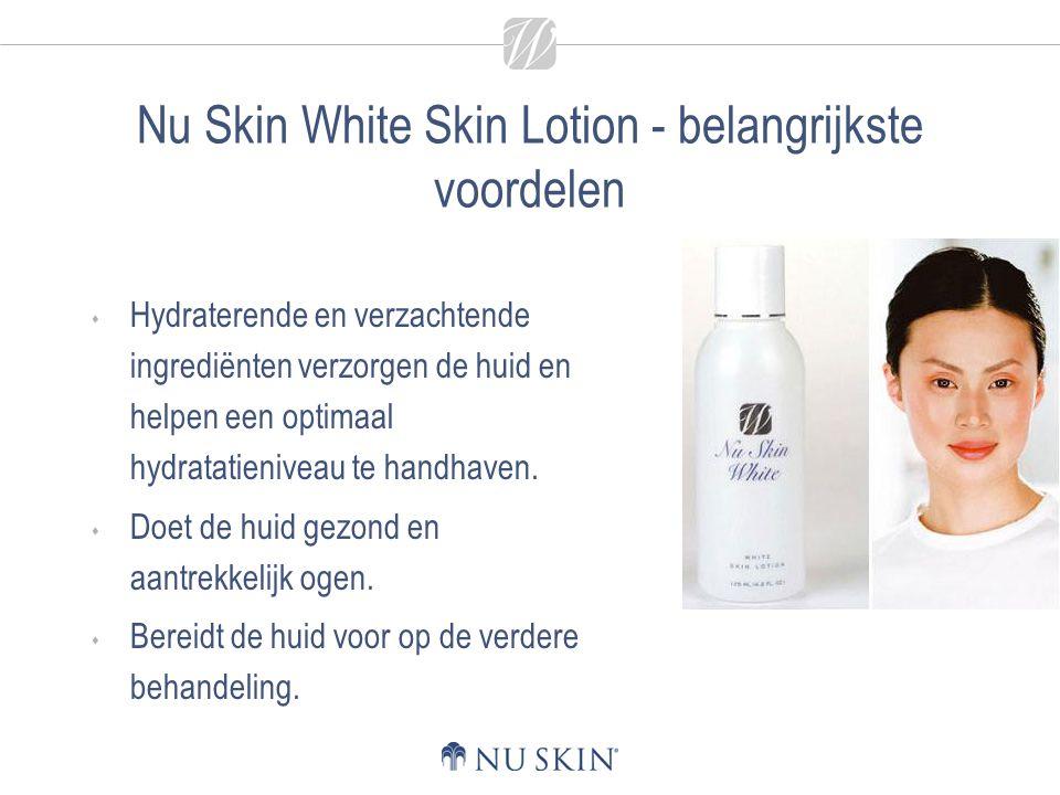 Nu Skin White Skin Lotion - belangrijkste voordelen  Hydraterende en verzachtende ingrediënten verzorgen de huid en helpen een optimaal hydratatieniv