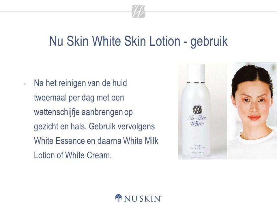 Nu Skin White Skin Lotion - gebruik  Na het reinigen van de huid tweemaal per dag met een wattenschijfje aanbrengen op gezicht en hals. Gebruik vervo